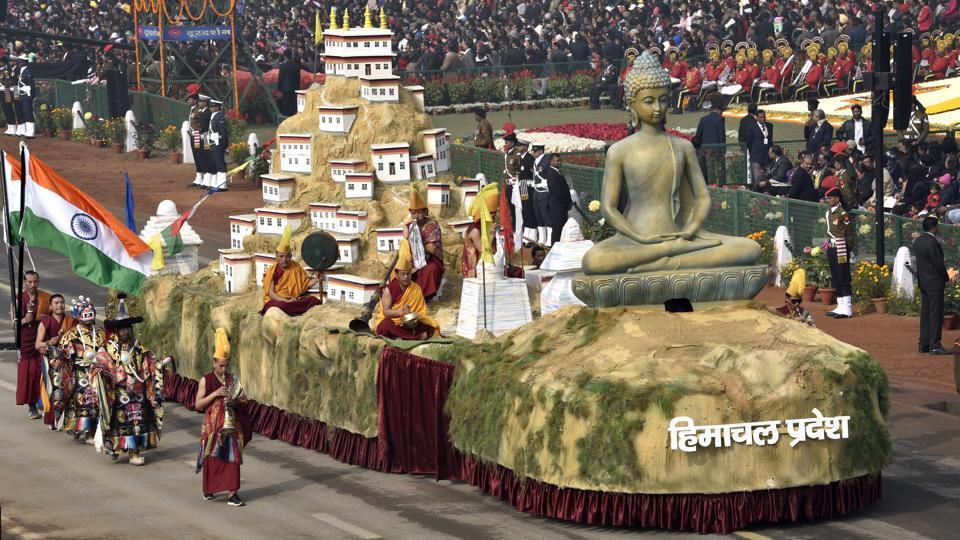 Himachal Pradesh tableaux passes through the saluting base at Rajpath during the Republic Day Parade in New Delhi on January 26, 2018.