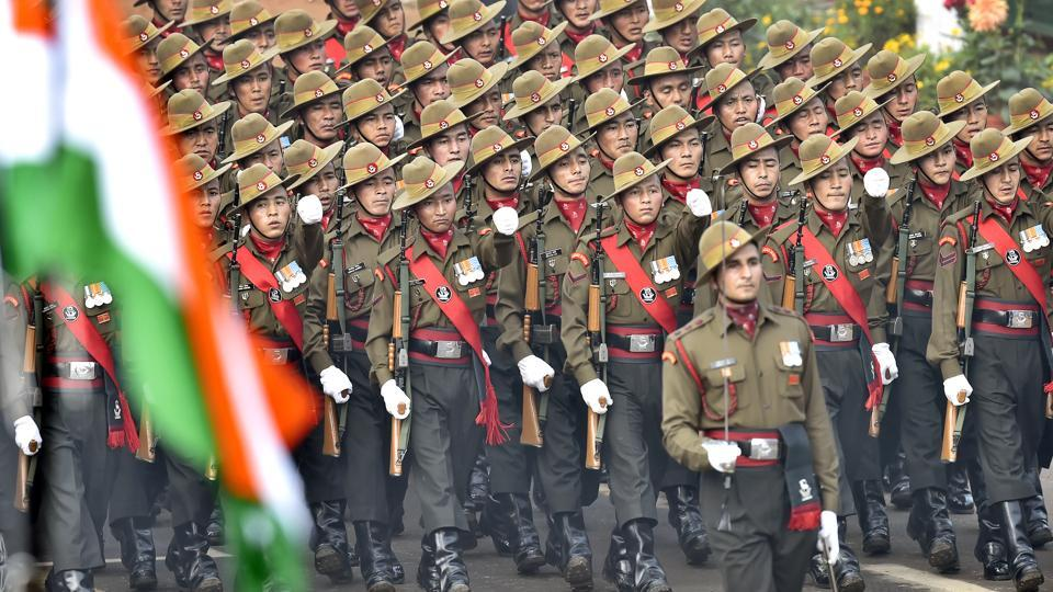 The Ladakh Scouts contingent of the Indian Army marches past during the parade. (Ajay Aggarwal / HT PHOTO)