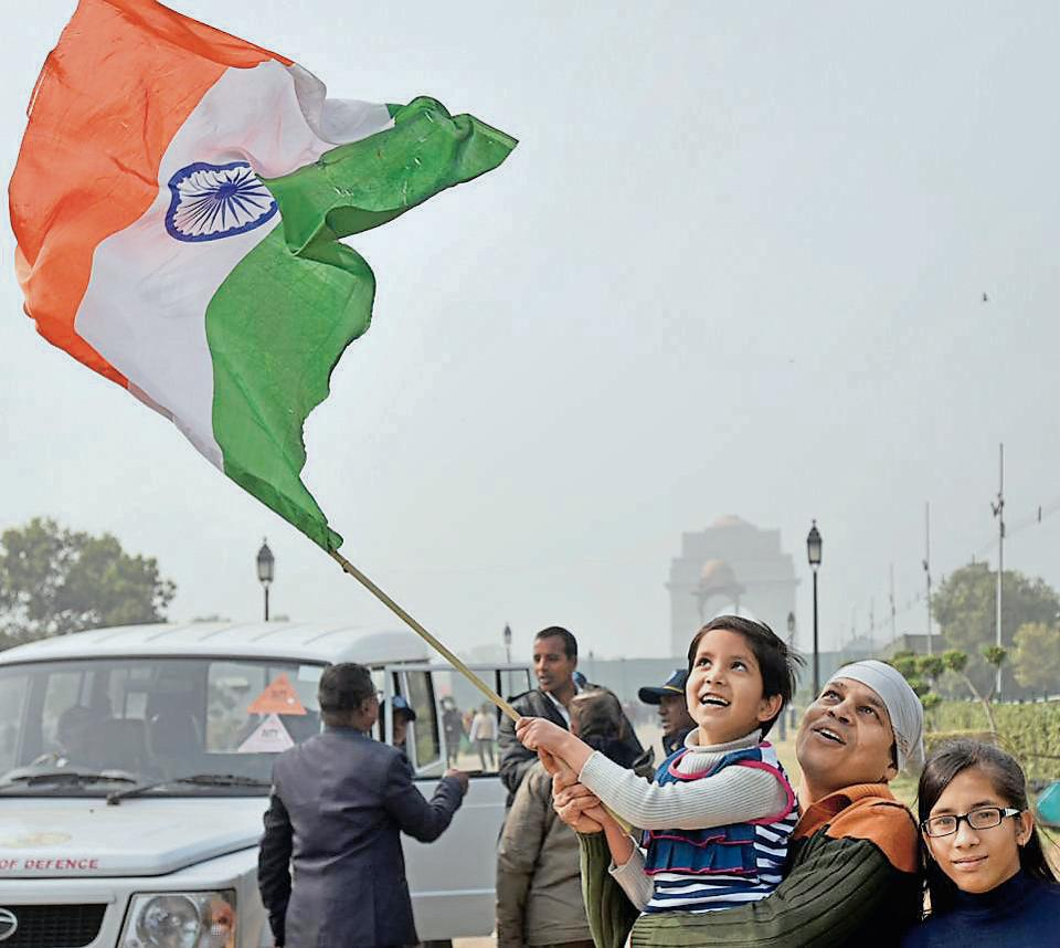People at India Gate in New Delhi on Friday.