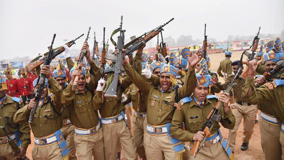 CRPF personnel celebrate after winning the first prize for marching during a Republic Day function in Patna. Celebrations across India showcased the country's culture and diversity on the 69th Republic Day on Friday, from drawing cheers by leaders of 10 ASEAN nations who were chief guests at the parade in New Delhi to widespread attendance at events in various cities. (PTI)