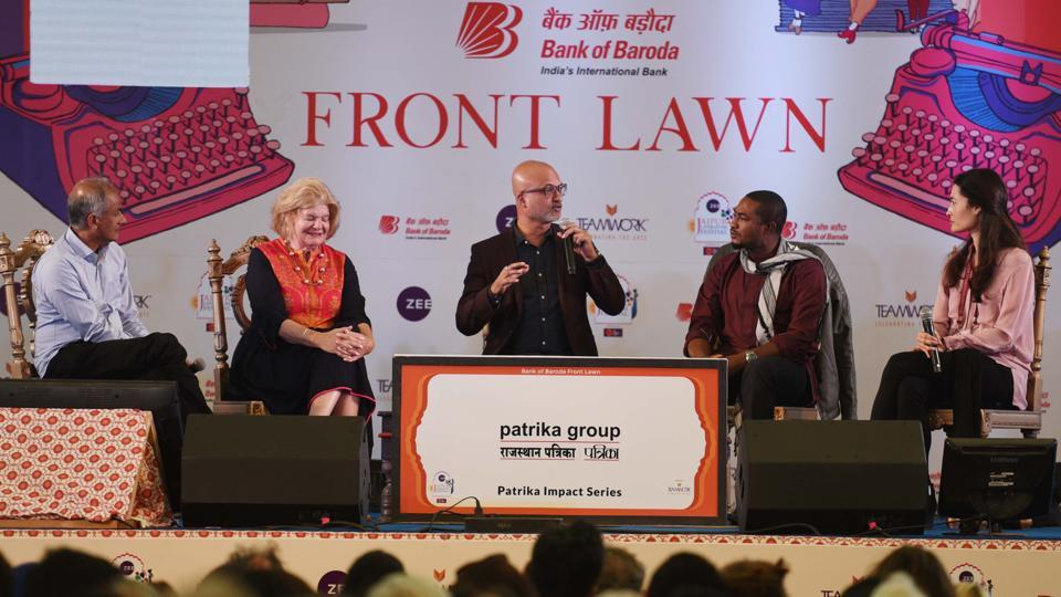 Author Abubakar Adam Ibrahim (centre) in conversation with Charmaine Craig (right), Jeet Thayil (centre) and Linda Spalding (second from left) and Pico Iyer during the session titled The Empire Writes Back at the Jaipur Literature Festival on Friday.