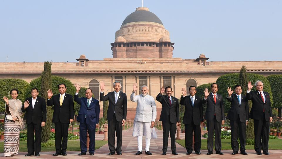 A photograph released by the Press Information Bureau on January 25, 2018 shows Prime Minister Narendra Modi (centre)with Asean heads of state at Rashtrapati Bhavan in New Delhi.