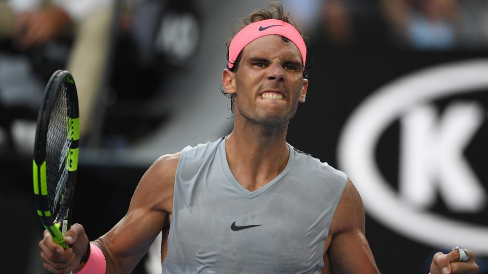 Spain's Rafael Nadal reacts during the men's singles fourth round match against Argentina's Diego Schwartzman on day seven of the Australian Open tennis tournament in Melbourne on January 21, 2018. (William West / AFP)