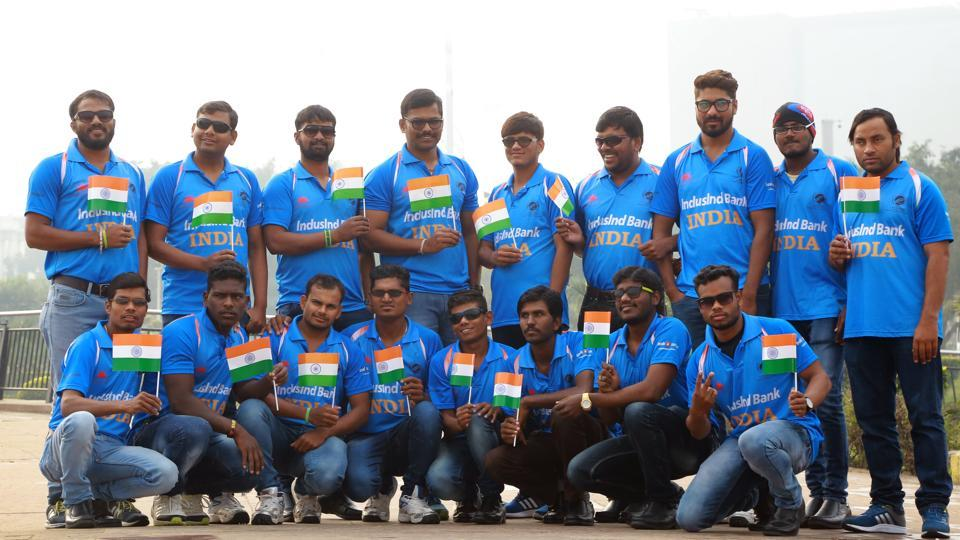 The Indian blind cricket team raises the tricolour — always proud to win for the nation, they say.