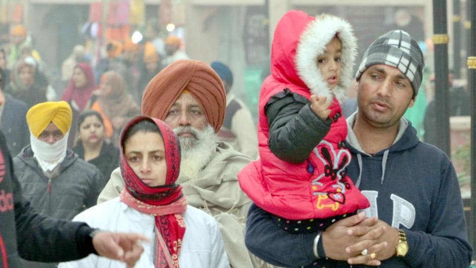 Warm clothes made braving the chill a little easier at the Golden Temple in Amritsar on Saturday.