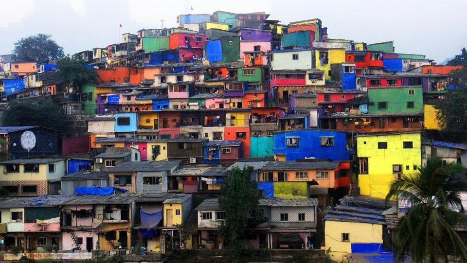 A long shot of Asalpha slums. A slum in Indonesia , Kampung Pelangi in Randusari, received a similar facelift in 2017 by the local government. It's popularly known as the Rainbow Village. (Pramod Thakur/HT Photo)