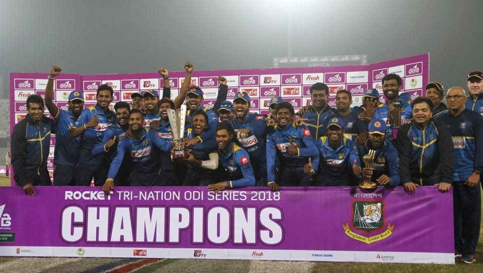 Shehan Madushanka took a hat-trick on his debut while Dushmantha Chameera and Akila Dananjaya took two wickets each as Sri Lanka beat Bangladesh by 79 runs to win the tri-nation series.