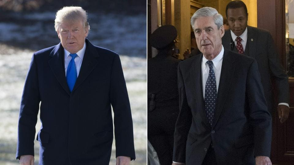 Acombination of pictures shows US President Donald Trump  and former FBI director Robert Mueller.