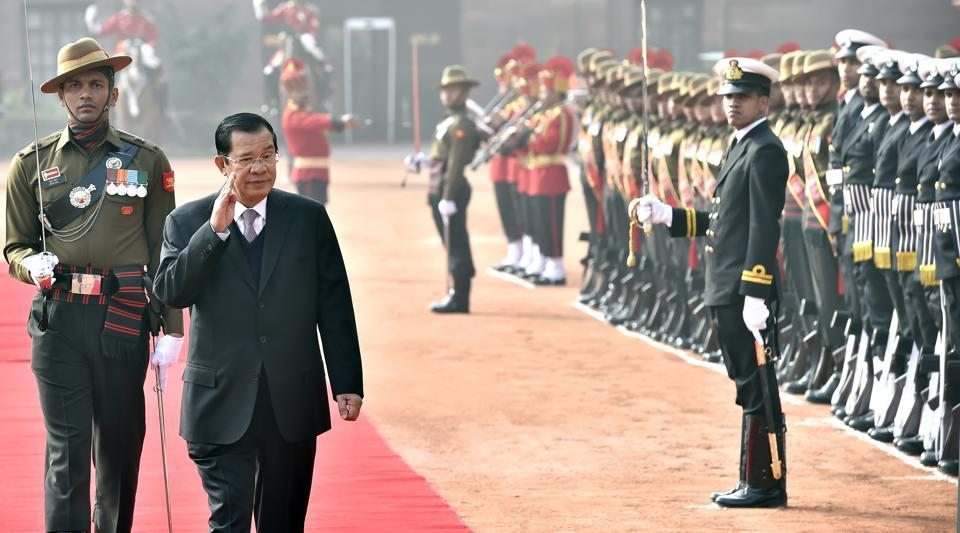 Cambodian Prime Minister Samdech Hun Sen inspects the guard of honour during his ceremonial reception at Rashtrapati Bhawan in New Delhi  on  January 27.