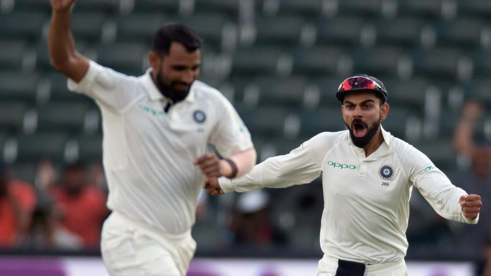 Mohammed Shami celebrates with Virat Kohli the wicket of Vernon Philander on Day 4 of the third and final Test between SouthAfrica and India Johannesburg. Catch full cricket score of IND vs SA here