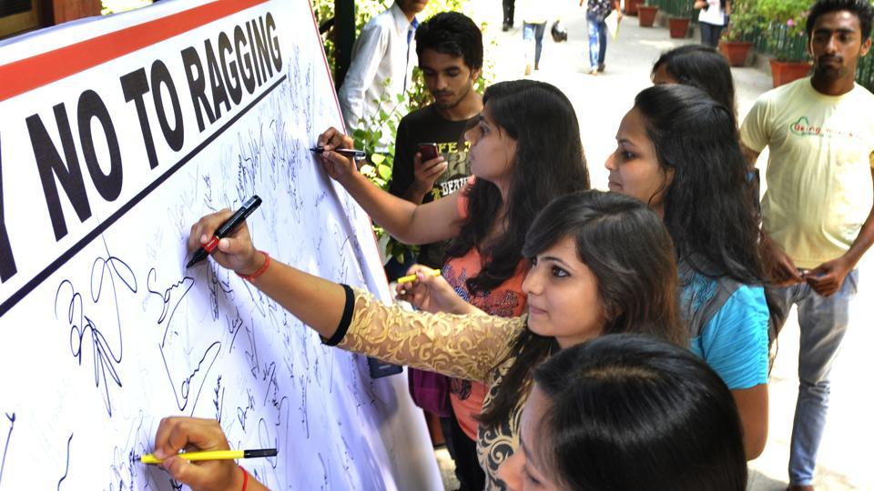 The students sign No Ragging pledge on the first day of new academic year at Hansraj College in New Delhi, India, on Monday, July 21, 2014.
