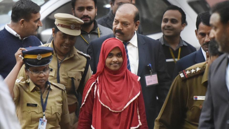24-year-old Hadiya at the Supreme Court after a hearing in New Delhi,  on November 27, 2017.