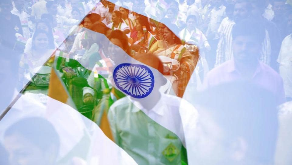 A multiple exposure picture of the tri-colour flag and a bike rally carrying by Kasba residents from Kasba Ganpati to Omkareshwar temple on January 25. (Rahul Raut/HT PHOTO)