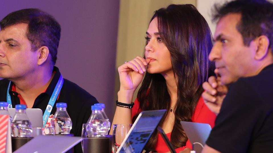 Kings XI Punjab co-owner Pretty Zinta during the IPL auction 2018. Their first buy of the day was R Ashwin for Rs.7.6 crore. (BCCI)