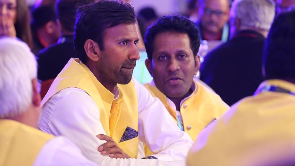 Chennai Super Kings official L Balaji, a former India player, during the event. South Africa skipper Faf du Plessis was the first buy of CSK on Saturday for Rs.1.6 crore. (BCCI)