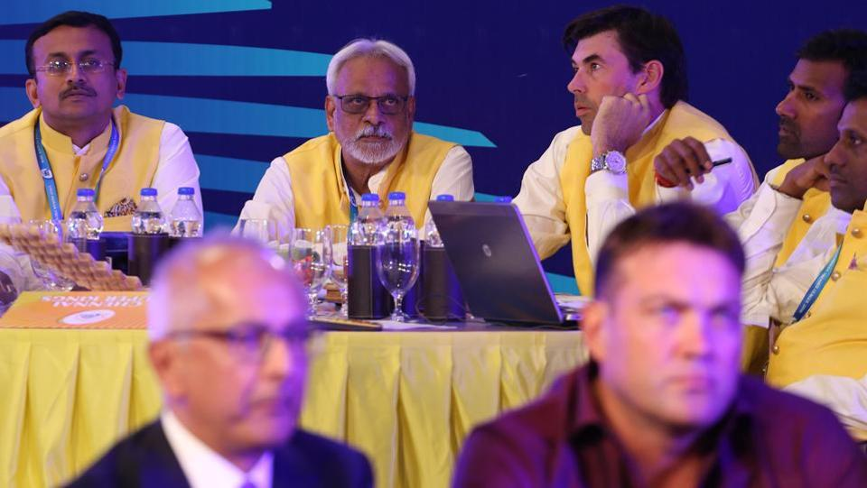 Stephen Fleming, among other Chennai Super Kings officials, during the IPL 2018 auction. (BCCI)