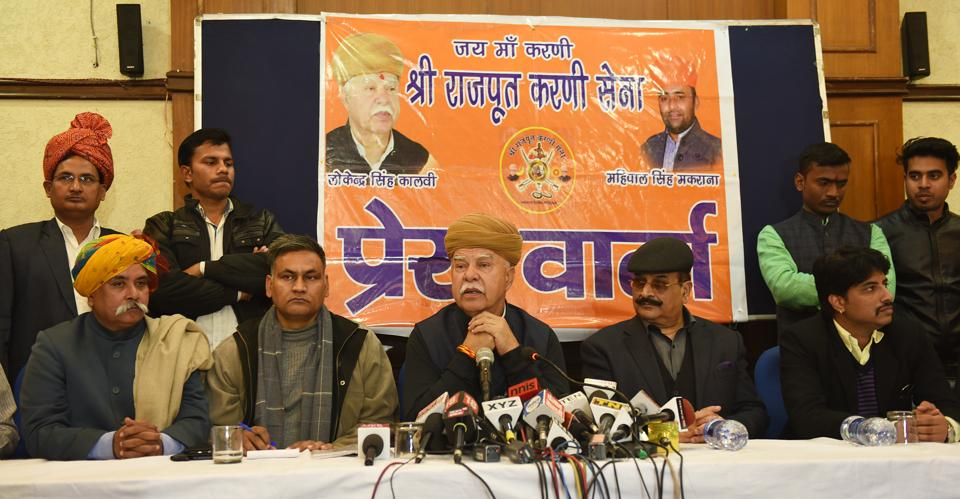 A file photo of Lokendra Singh Kalvi, Karni Sena chief, during a press conference on Saturday.