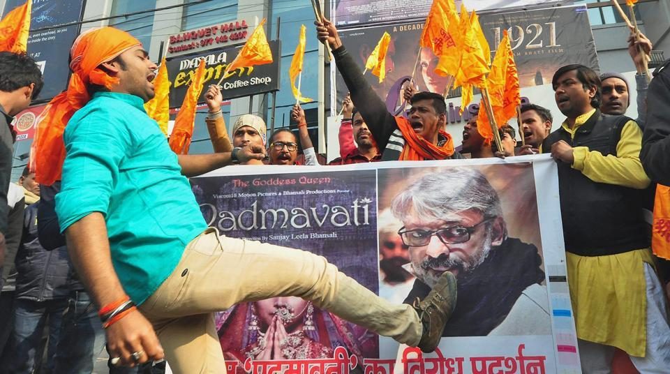 Protesters shout slogans against director Sanjay Leela Bhansali after the release of Padmaavat at a cinema hall in Patna.