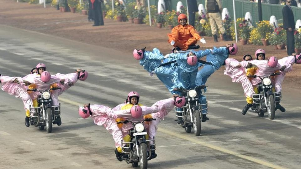 BSF women motorcycle team during the Republic Day Parade at Rajpath in New Delhi on Friday.