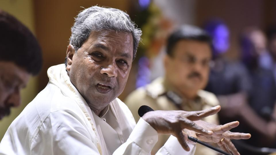 Karnataka chief minister Siddaramaiah during the press meet after the review meeting with senior police officers at Police head quarter in Bengaluru.