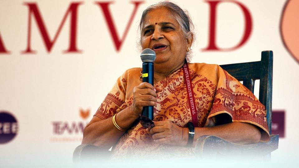 """""""I belong to a teachers' family and writing was my expression,"""" Sudha Murty said in response to a question on why she began writing."""