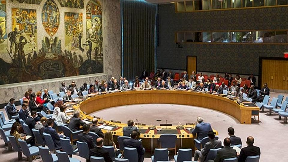 Members of the United Nations Security Council during a meeting at the UN headquarters in New York.
