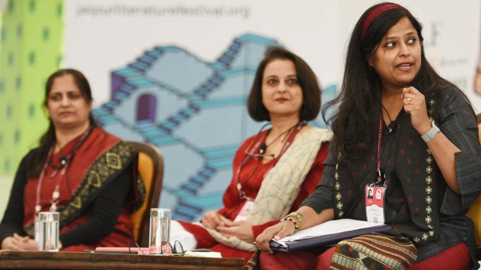 From left: Namita Waikar, Namita Bhandare and Kota Neelima during the session titled Visible Work, Invisible Women at the Jaipur Literature Festival.