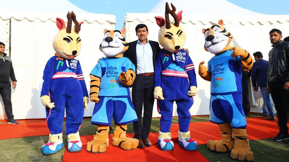 Rajyavardhan Rathore, union sports minister, on the sidelines of Khelo India pledge launch.