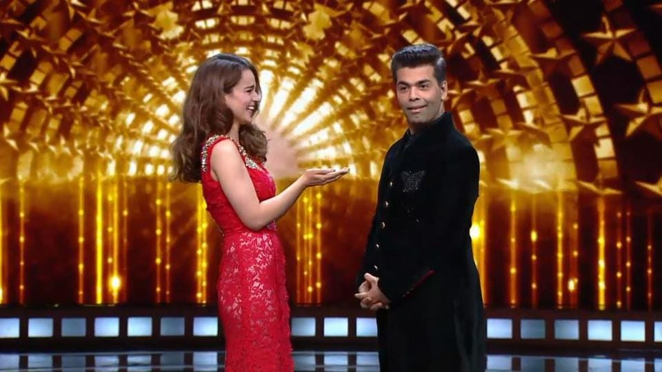 Kangana Ranaut and Karan Johar looked almost like a couple of friends on the show.