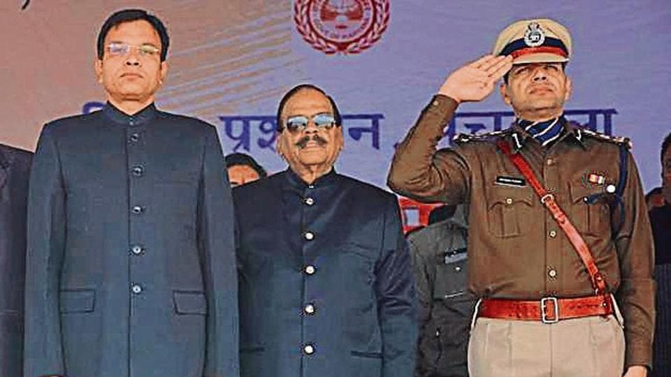 (Fromleft to right) HCS officer Jagdeep Dhanda, former Haryana DGP SPS Rathore and senior IPS officer Rakesh Kumar.