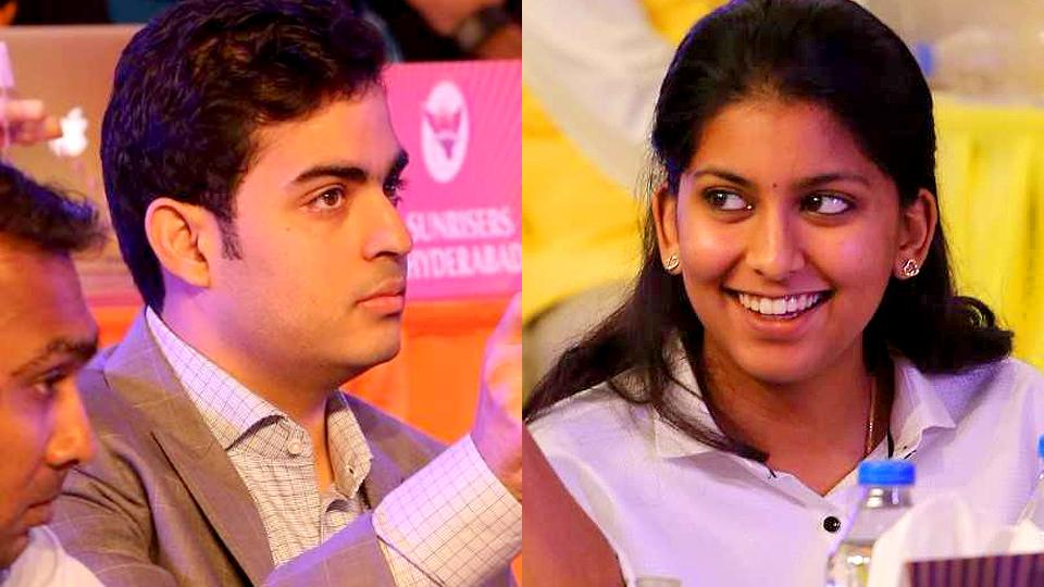 Jhanvi (right), daughter of Juhi Chawla, and Akash, son of Nita Ambani grabbed a lot of attention in the IPL auction 2018 in Bangalore on January 27 and 28, 2018.