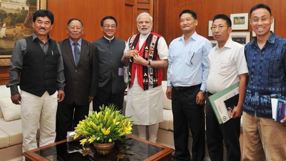 File photo of Naga Hogo leaders meeting Prime Minister Narendra Modi in New Delhi in June 2015.