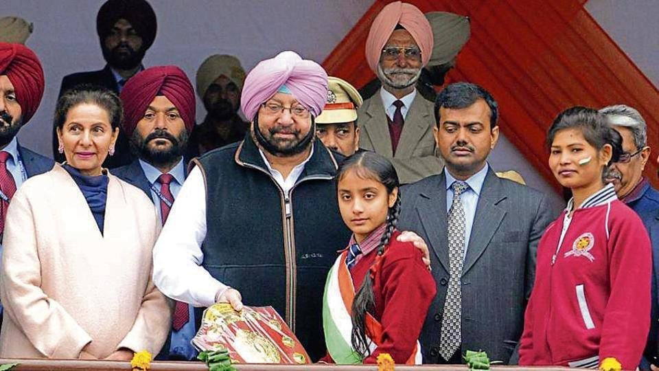 Punjab chief minister Capt Amarinder Singh felicitating students at the YPS Stadium in Patiala on Friday.