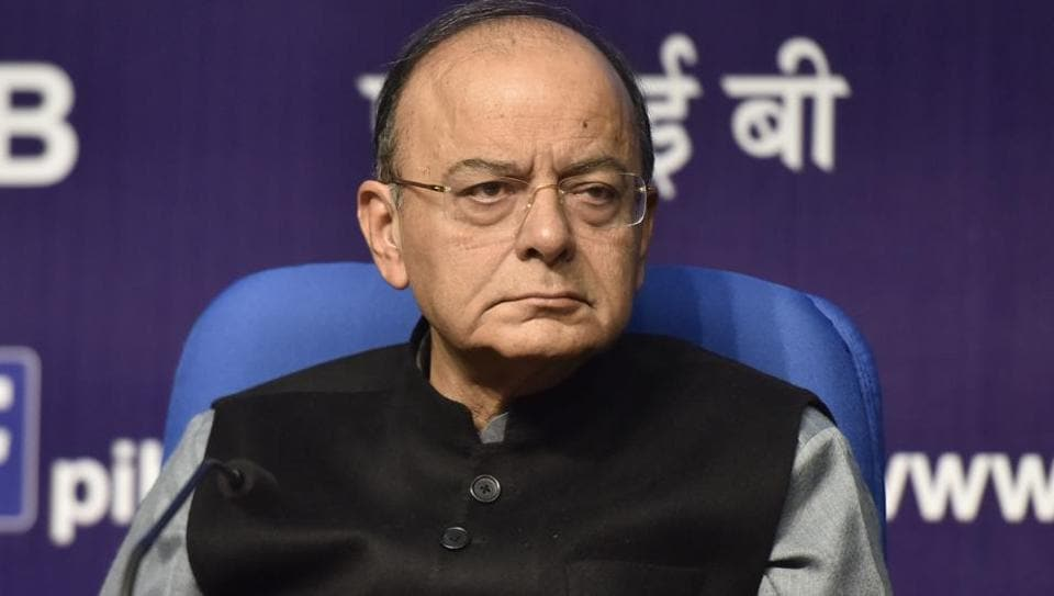 Finance Minister Arun Jaitley addresses a press conference at National Media Centre in New Delhi, India on January 24, 2018.