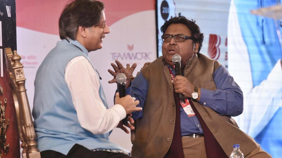 Ashwin Sanghi in conversation with Shashi Tharoor on his latest book Keepers of the Kaalachakra during the Jaipur Literature Festival on Saturday.