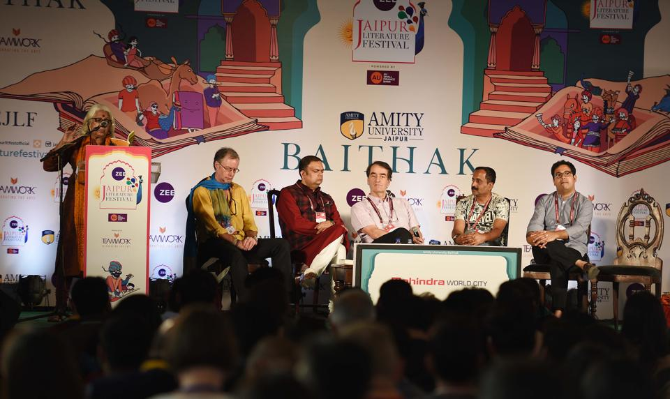 Esther David , Hugh Thomson(L), Kushanava Choudhury(R) and Yatindra Mishra(2L) in conversation with Sam Miller(C) and Vikas Sing(2R) during Cities: Past and Future session Days in Jaipur Literature Festival (JLF) at Diggi Palace in Jaipur, Rajasthan, India, on Sunday, January 28, 2018.  (Raj K Raj/HT Photo)