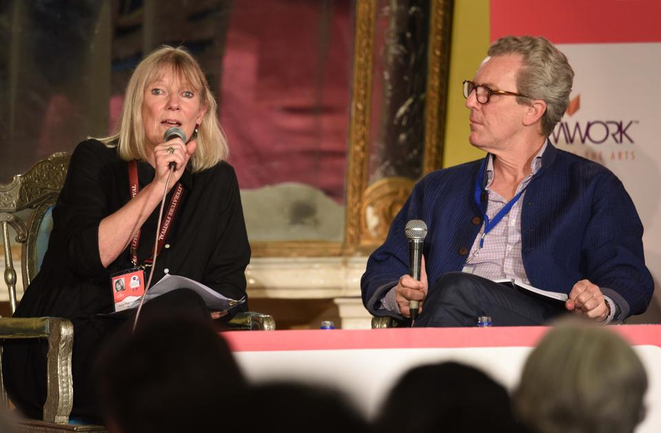 "Lucy Hughes-Hallett in conversation with Adam Nicolson during ""Cleopatra: Queen, Lover, Legend"" session, in Jaipur Literature Festival (JLF) ) at Diggi Palace in Rajasthan, India, on Sunday, January 28, 2018. (Raj K Raj/HT Photo)"