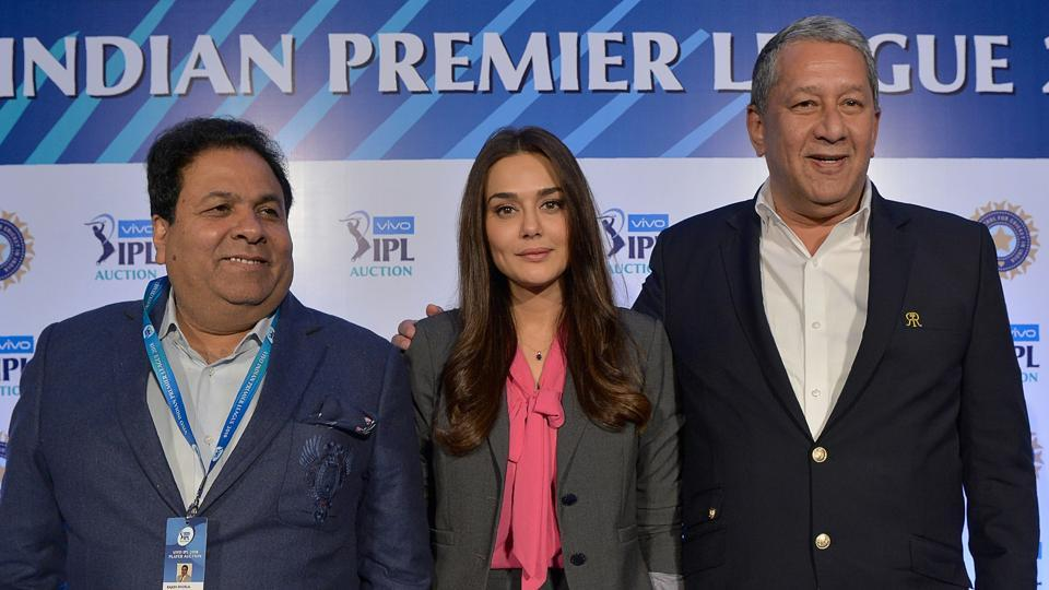 Preity Zinta, co-owner of Kings XI Punjab, and Indian Premier League chairman Rajeev Shukla (L) and Ranjit Barthakur, Rajasthan Royals CEO on the sidleine of the IPL auction 2018.