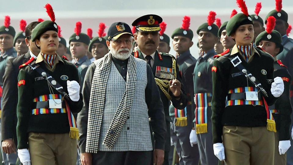 Prime Minister Narendra Modi inspects the guard of honour at the NCC Rally in New Delhi on Sunday.