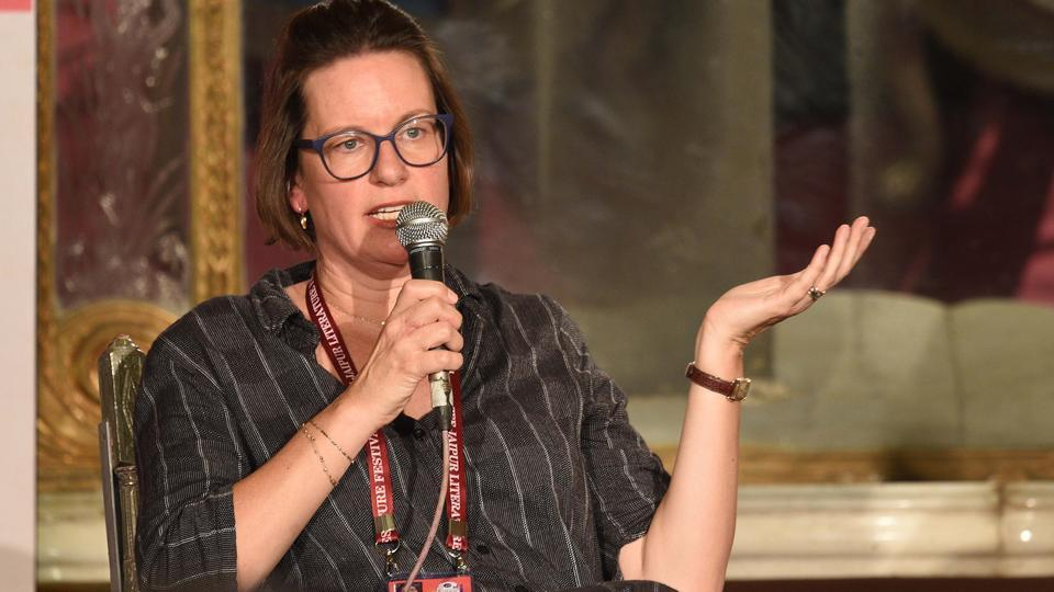 Stephanie Schrader during the session titled Rembrandt and the Mughals at the Jaipur Literature Festival on Sunday.