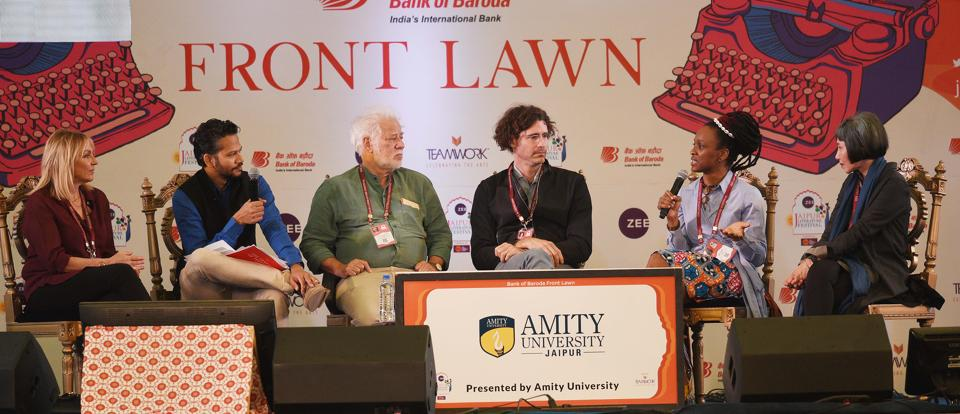 Amy Tan(R), Chika Unigwe(2R), Helen Fielding(L), Joshua Ferris (C) and Michael Ondaatje(3L) in conversation with Chandrahas Choudhury (2L) during The Art of the Novel: On Writing Fiction session in Jaipur Literature Festival (JLF) at Diggi Palace in Rajasthan, India, on Sunday, January 28, 2018. (Raj K Raj/HT Photo)