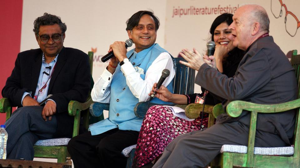 From left: Swapan Dasgupta, Shashi Tharoor, Amrita Tripathi and Philip Normal during a session titled The Wodehouse Effect at the Jaipur Literature Festival.