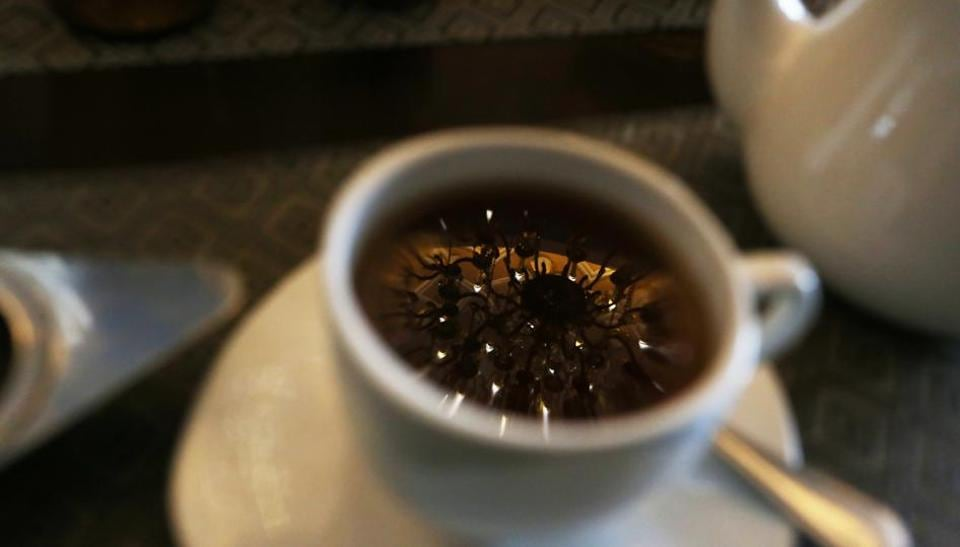 At United Coffee House you can catch the perfect reflection of a chandelier in your tea.