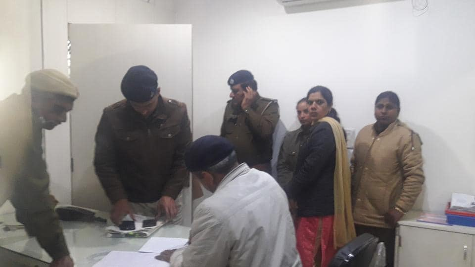 Police at the crime spot in Panipat on Monday.