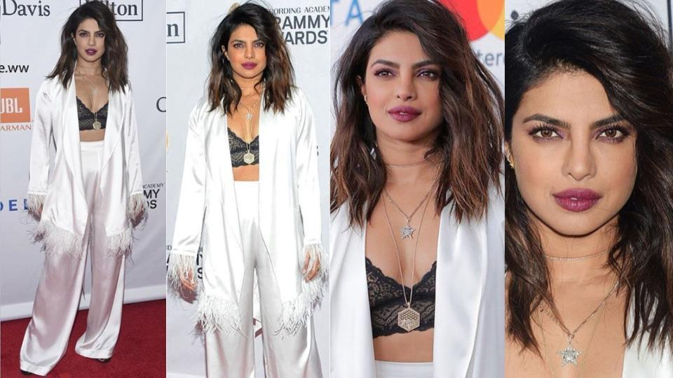 Leave it to Priyanka Chopra to wear the fanciest pyjamas we've ever seen. The Quantico actor was snapped at the 2018 Clive Davis' pre-Grammy gala in New York on Saturday, and it looked like she was dressed for the bedroom rather than the streets.