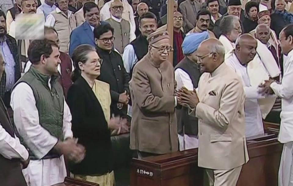 President Ram Nath Kovind greets former Congress president Sonia Gandhi, on the first day of Budget Session, in New Delhi on Monday.B)