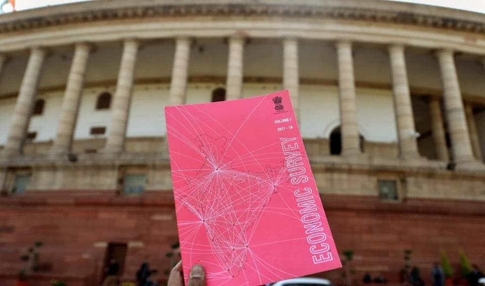 Economic Survey which was tabled in Parliament during the first day of Budget Session of Parliament, in New Delhi on Monday.