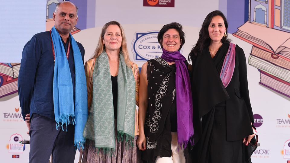 From left: Pramod Kumar, Paola Antonelli, Anja Aronowsky Cronej and Malika Verma Kashyap during the session Fashion and Modernity at the Jaipur Literature Festival.