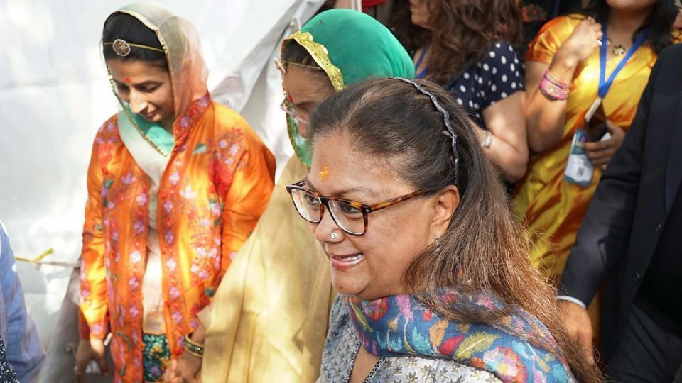 Rajasthan chief minister Vasundhara Raje during the Jaipur Literature Festival 2018 at Diggi Palace in Jaipur on Monday.
