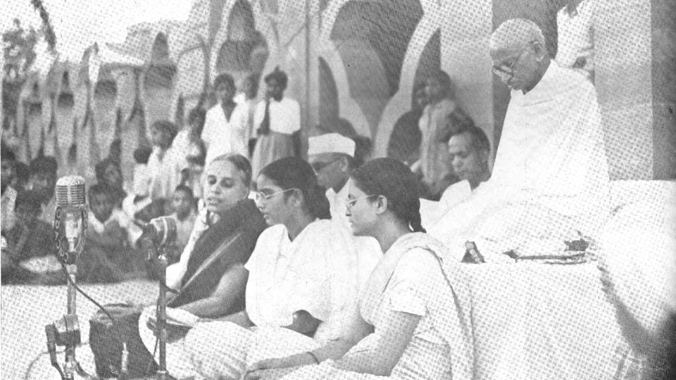 "Mahatma Gandhi during one of his prayer meetings at Birla House. 70 years to the day, in 1948, Mahatma Gandhi fell to his assassin Nathuram Vinayak Godse's bullets during an evening prayer ceremony at Birla House in Delhi. Perched atop a gate of Birla House, Prime Minister Jawaharlal Nehru would announce to the world that the ""light has gone out of our lives"". (HT Archive)"